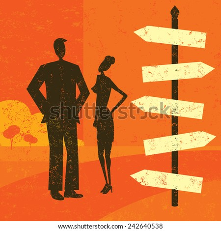 Choosing a destination A man and woman looking at a blank sign post and wondering which way to go. The people and the background are on separate labeled layers. - stock vector