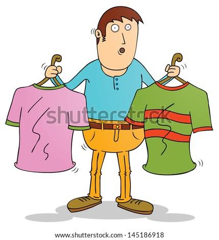 choosing clothes - stock vector