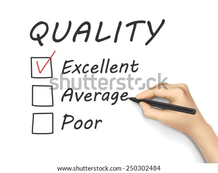 choosing excellent on customer service evaluation form over white background - stock vector