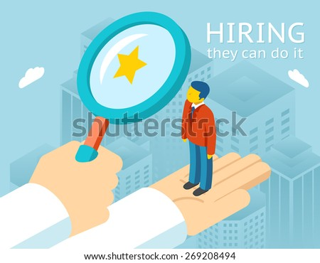 Choosing person for hiring. Job and staff, human and recruitment, select people, resource and recruit. Vector illustration - stock vector