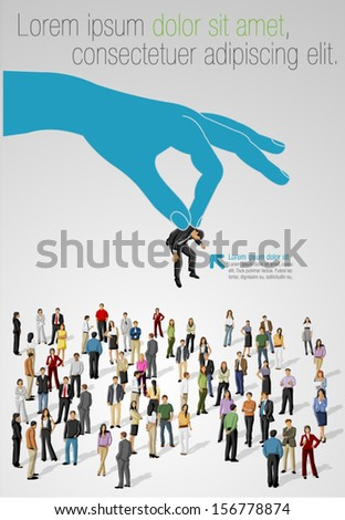 Choosing the right person on a group of business people. Hiring selection. - stock vector
