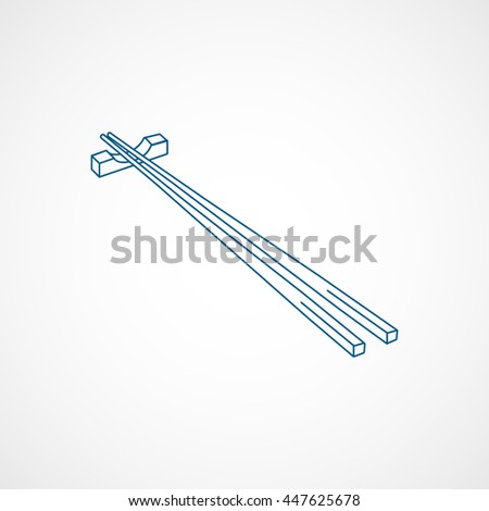 Chopsticks Blue Line Icon On White Background - stock vector