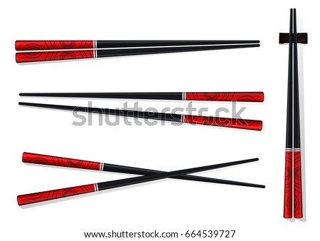 Chopsticks. Set Accessories for Sushi Isolated on White Background. Vector Illustration