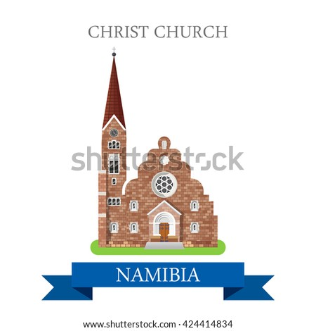 Christ Church in Windhoek in Namibia. Flat cartoon style historic sight showplace attraction web site vector illustration. World countries cities vacation travel sightseeing Africa collection.