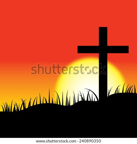 Christ cross on sunset background. - stock vector