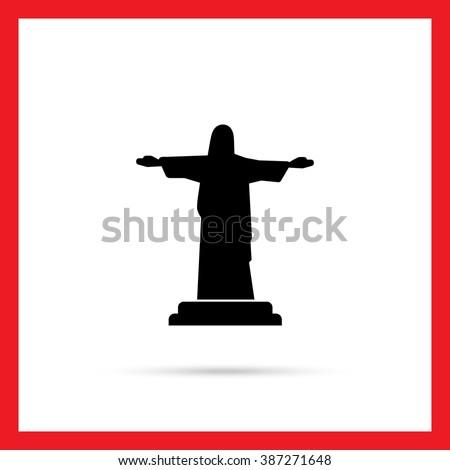 Christ the Redeemer statue - stock vector