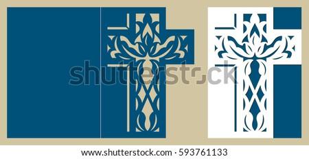 Christening Invitation Easter Cross Pattern Baptism Stock ...