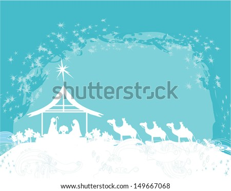 Christian Christmas nativity scene of baby Jesus in the manger  - stock vector