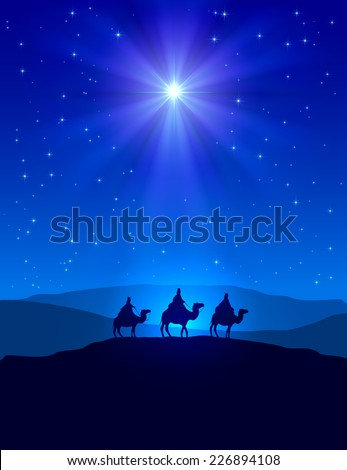 Christian Christmas night with shining star on blue sky and three wise men, illustration. - stock vector