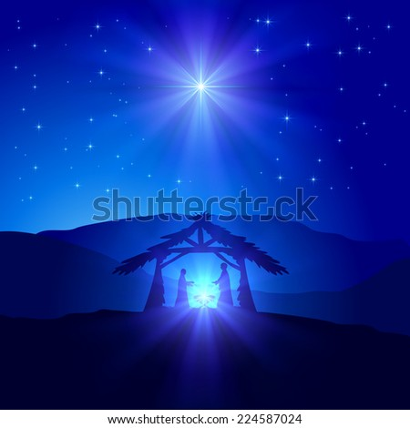 Christian Christmas scene with birth of Jesus and shining star on blue sky, illustration. - stock vector