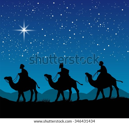Christian Christmas scene with the three wise men and shining star, illustration - stock vector