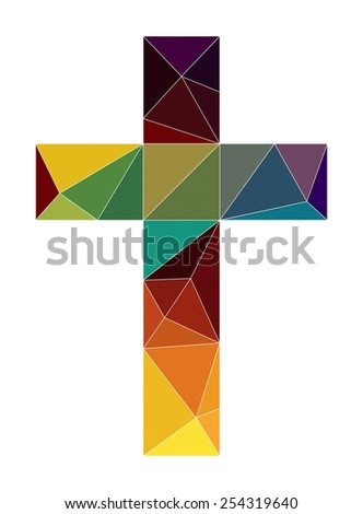 christian church cross symbol color low poly  - stock vector