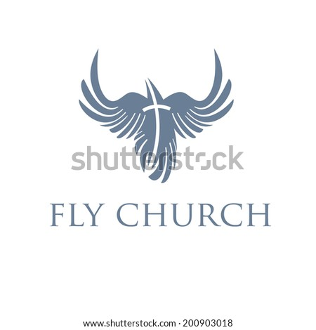 Christian concept, bird and cross - stock vector