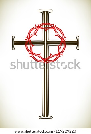 Christian cross and red thorny wreath - stock vector