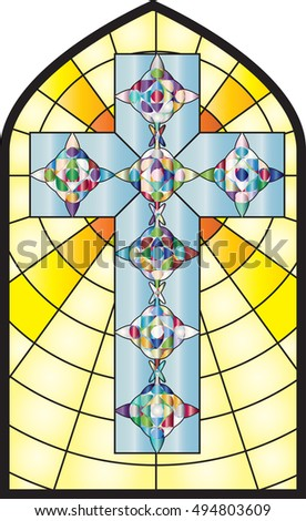 Christian Cross Colorful Church Stained Glass Window Style Vector Illustration