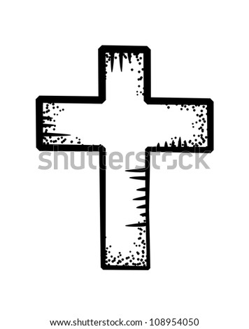 Christian cross doodle - stock vector