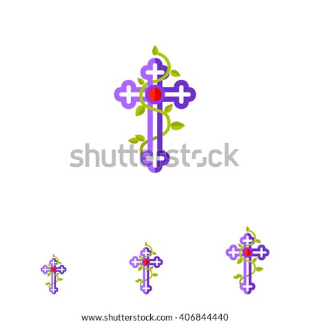 Christian Cross flat icon - stock vector