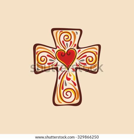 Christian cross. Heart, love. - stock vector