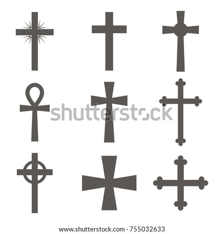 Christian cross icon in flat design. Set of Christian crosses on white background. Vector illustration.