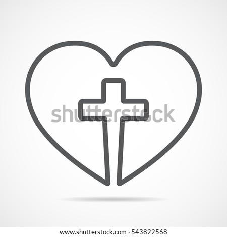 christian cross icon heart inside gray stock vector royalty free