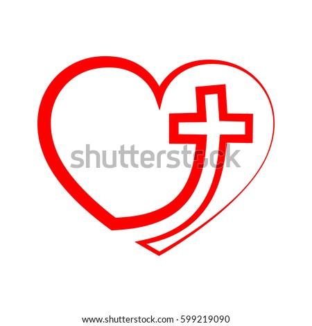 christian cross icon heart inside gray stock vector