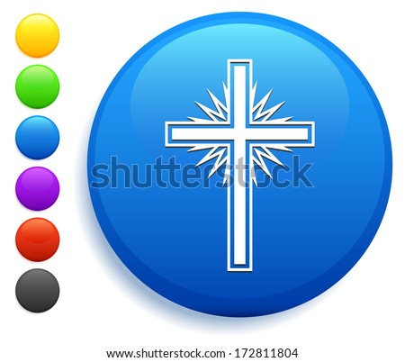 Christian Cross Icon on Round Button Collection - stock vector