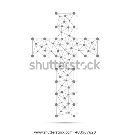 Christian cross icon. Religious logo. Connection structure. Vector illustration for your design. - stock vector