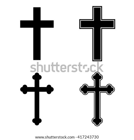 Christian cross icon set religion catholic