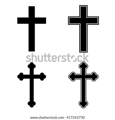 Christian cross icon set religion catholic - stock vector