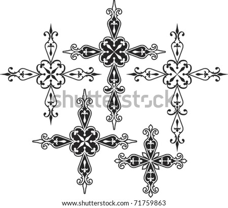 Christian Cross Set - stock vector