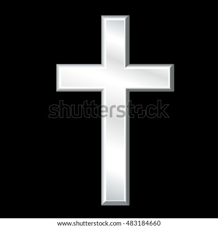 Christian Cross, silver crucifix, symbol of Christianity, religion and faith, isolated on a black background. EPS8 compatible.