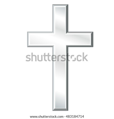 Christian Cross, silver crucifix, symbol of Christianity, religion and faith, isolated on a white background. EPS8 compatible.