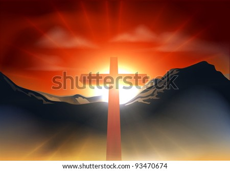Christian cross with sun rising behind it over a mountain range. Could be used as resurrection Easter concept