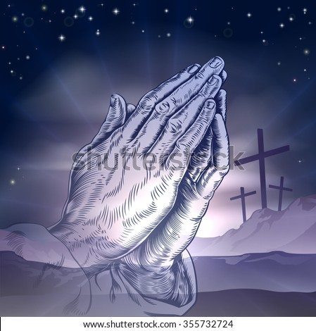 Christian Easter concept of three crosses on a hill and praying hands - stock vector