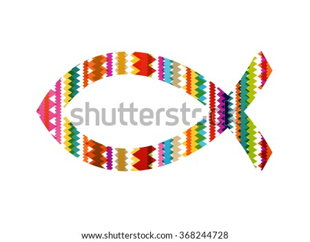 Christian fish abstract vector background concept illustration - stock vector