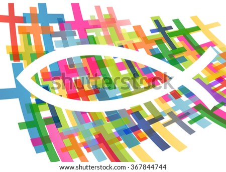 Christian fish Jesus symbol abstract vector background concept illustration - stock vector