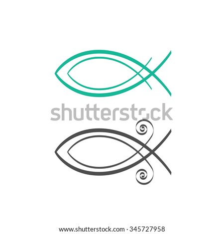Christian fish symbol, abstract logo concept, fresh sea food logotype, Jesus fish icon isolated on white background vector illustration, modern creative linear design sign badge, outline flat style. - stock vector