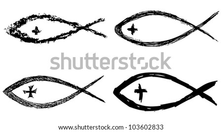 Christian fish symbol with cross. Vector