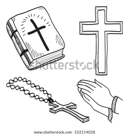 Christian hand-drawn symbols illustration - cross, bible, hands, rosary - stock vector
