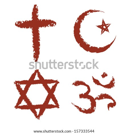 Christian, islam, judaism and hinduism religions painted signs vector set. - stock vector