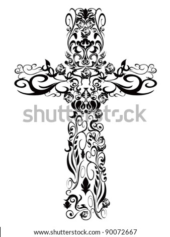 Christian pattern Cross decoration Design - stock vector