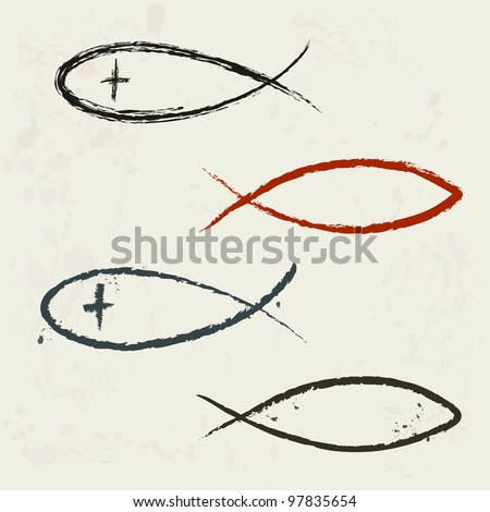 Christian religion symbol fish in grunge style - stock vector