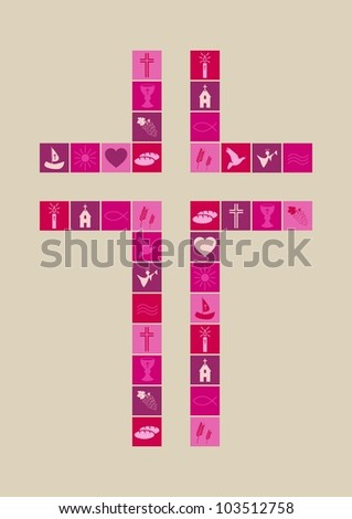 Christian religion symbols girl - stock vector