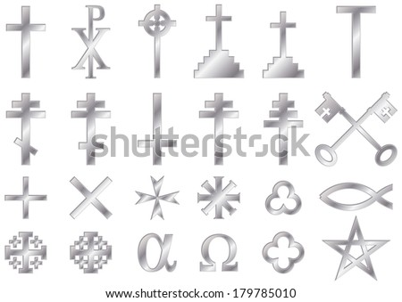 Christian religious symbols with a metallic effect: A collection of vector icons and symbols associated with the Christian faith isolated on white background - stock vector