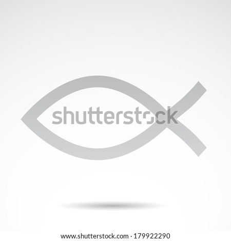Christian symbol - fish icon isolated on white background. VECTOR illustration. - stock vector