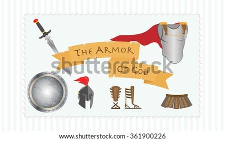Christian Symbol Gods Armor Including Belt Stock Vector Royalty