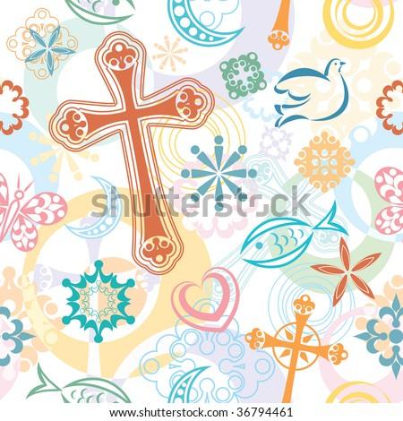 Christian Cross Pattern Christian Symbols Stoc...