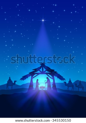 Christian theme, Christmas star on blue sky and birth of Jesus, illustration. - stock vector