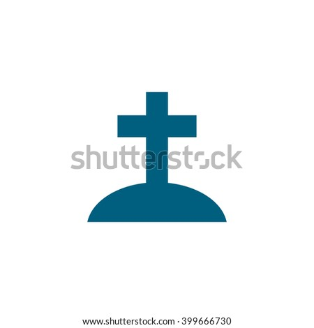 Christian tomb. Vector icon blue