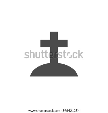 Christian tomb. Vector icon grey